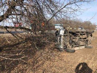 На Днепропетровщине водитель на Nissan вылетел в кювет и перевернулся (фото) - ФОТО