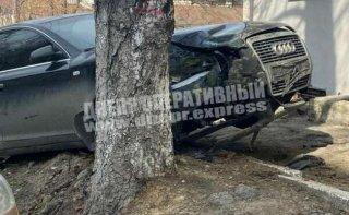 В Днепре Audi врезался в дерево (видео) - ФОТО