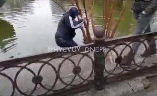 В Днепре автовор прыгнул в озеро (видео) - ФОТО